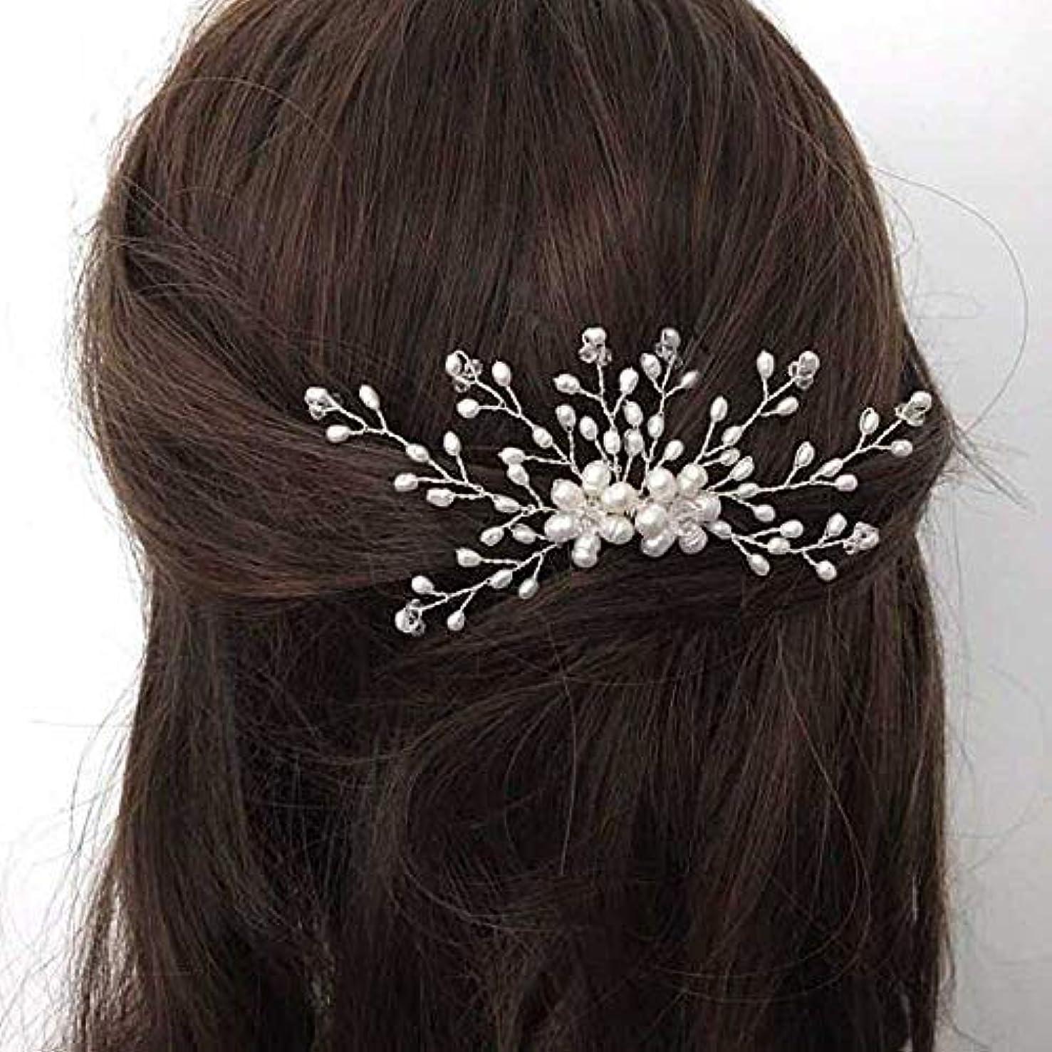 真実甲虫台風Jovono Bride Wedding Hair Comb Bridal Headpieces Beaded Hair Accessories with Crystal for Women and Girls (Silver...
