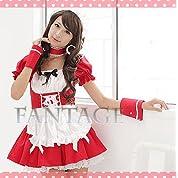 941-1 メイド服 赤 コスプレ衣装 ファンタージュ