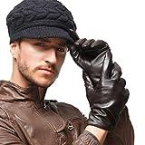 NAPPAGLO メンズ 男性用 本革 羊革 手袋 手作り グローブ ライニング (M ディープブラウン(スマホ対応))