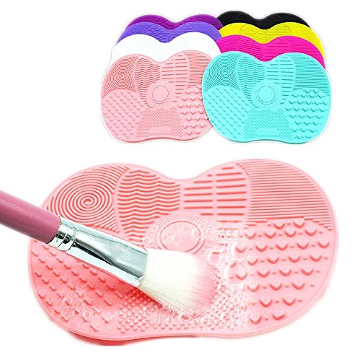 看板スポーツをするリッチ(Black) Silicone Brush Cleaner Mat Washing Tools for Cosmetic Make up Eyebrow Brushes Cleaning Pad Scrubber Board...