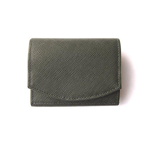 ハンモックウォレットコンパクト メンズ三つ折り財布 圧倒的小銭の取り出しやすさ (Dark Green × Green)