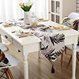 QY 刺繍リーフ テーブルランナー ヨーロピアンスタイル 現代の テーブルランナー コットンリネン ダイニングテーブル コーヒーテーブル 準優勝 タペストリー布 タッセル付き (Color : Purple, Size : 32x160cm)