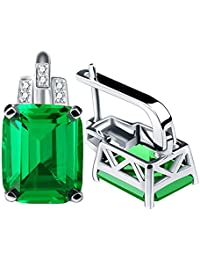 Qingorange Women 8ct Green Emerald Cut Clip Earrings 925 Sterling Silver Jewelry