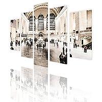 """Alonlineアート–NYC Train Station分割5パネルキャンバスの印刷( 100%コットン、フレームなしunmounted ) 33""""x22"""" - 84x56cm VM-5PN357-CNS0F00-1P5B-33-22"""