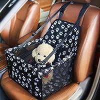 CAFUTY ペットカーバッグ犬の車のバッグアンチ崩壊メッシュカーキット犬のカーシートペットマットバッグ/車の犬パッド/防水/ペットの旅行 (Color : Black and white footprints, サイズ : PVC)