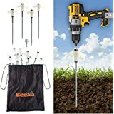 Adventure Seeka 15 Pack - Super Heavy Duty Threaded Tent Stakes - Screw Style Glow-in-The-Dark Ground Anchor Pegs - Hex Head Driver and Convenient Storage Bag Included