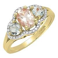 10Kゴールドオーバルモルガナイト、ラウンドアクアマリン&ホワイトダイヤモンドブライダル3ストーン婚約リング