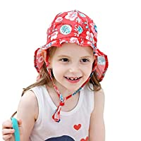Fiyomet 赤ちゃん幼児子供日焼け止めユニセックス男の子女の子UPF 52+ uv漫画フラップキャッププレイ帽子用夏野外活動
