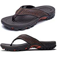KIIU Mens Thong Sandals Indoor and Outdoor Beach Flip Flop Brown Size: 8.5