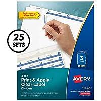Index Maker Clear Label Dividers, 3-Tab, Letter, White, 25 Sets (並行輸入品)