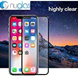Tempered Glass Screen Protector for iPhone X/XS, Japan Asahi Glass, Cover The Entire Screen, Curved Edge, 5D Latest Version, 9H, 0.3mm, Black Color, 純正強化ガラス画面カバープロテクター, 日本製素材製.