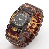[タイムウィルテル]Time Will Tell 腕時計 トータス(べっ甲)柄&ブラックカラー バングル・ブレス・ウオッチ Solid-TO(B)-S (スモールサイズ) [ベルト切れ1年保証付き] [並行輸入品]
