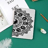 新しい ipad pro 11 2018 ケース スリムフィット シンプル 高級品質 手帳型 柔らかな内側 スタンド機能 保護ケース オートスリープ 傷つけ中央占星術の印の陰陽のシンボルと円形の黄道帯のテーマデザイン