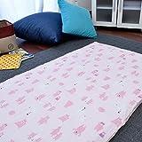 お昼寝布団 カバー 綿100% 敷き布団カバー 75×125cm くま ピンク かわいい おひるね ファスナー