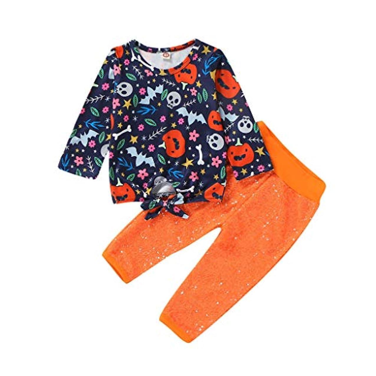 メンテナンスいろいろ盆地(ウェルドゥオ)(6M-4T)子供用長袖ハロウィン漫画トップスパンコールパンツセット幼児キッズベビーガールズハロウィン漫画パンプキントップスパンコールパンツ衣装