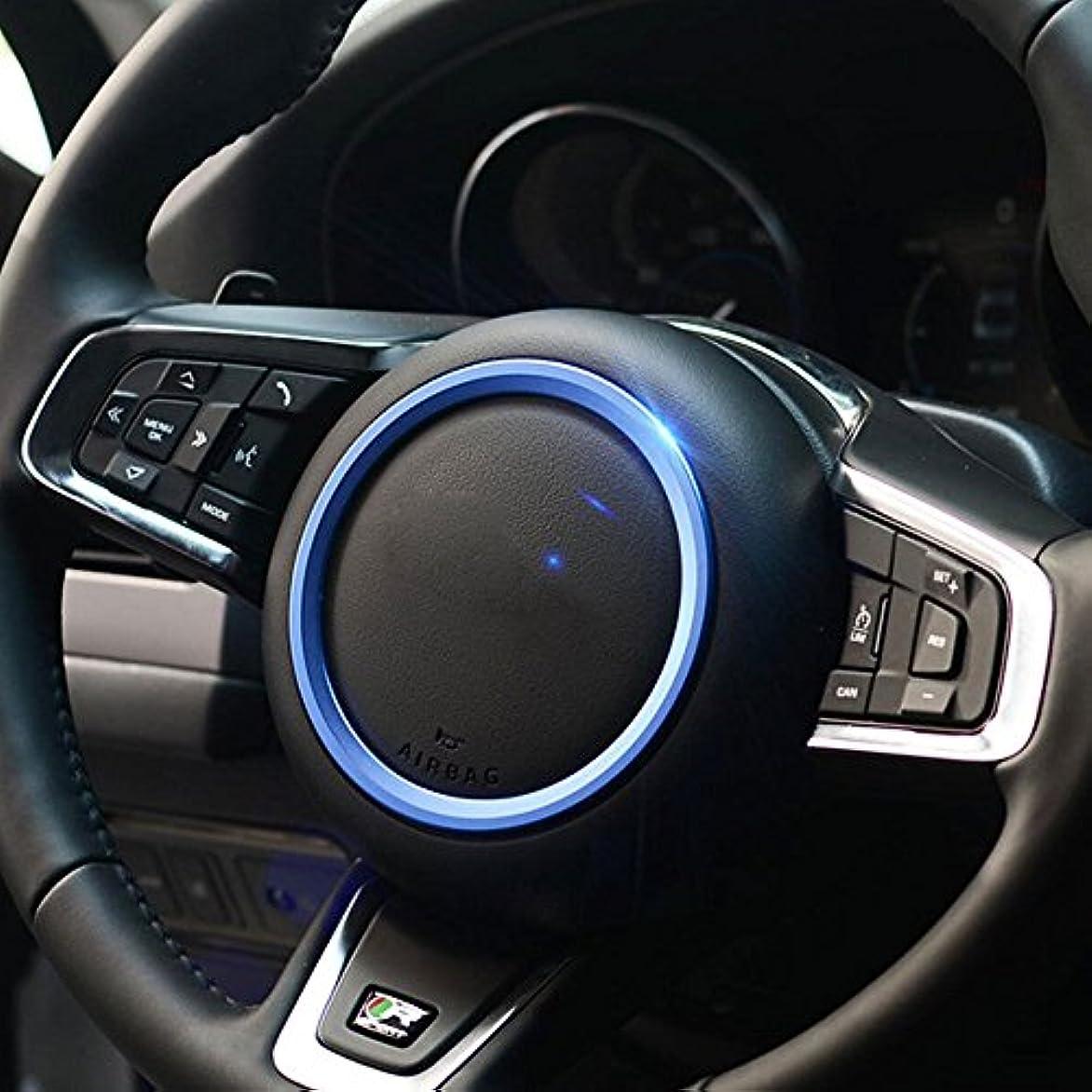 スローガン辞書役に立つJicorzo - Car Styling Steering Wheel Cover Trim Interior Chrome Decor Ring Sticker For Jaguar XF XE F-Pace F-Type...