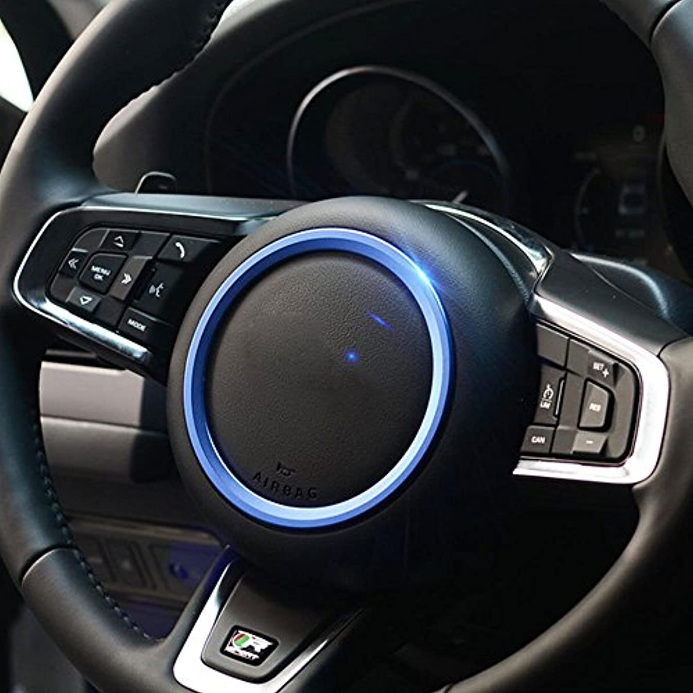 ノーブル若い端末Jicorzo - Car Styling Steering Wheel Cover Trim Interior Chrome Decor Ring Sticker For Jaguar XF XE F-Pace F-Type...