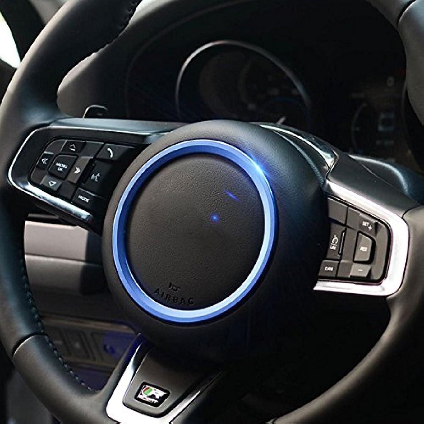 提供された希少性不和Jicorzo - Car Styling Steering Wheel Cover Trim Interior Chrome Decor Ring Sticker For Jaguar XF XE F-Pace F-Type 2016 2017 Car Accessory [Blue]