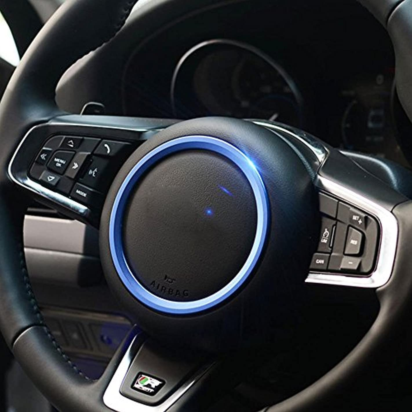 落花生スリップシューズテンポJicorzo - Car Styling Steering Wheel Cover Trim Interior Chrome Decor Ring Sticker For Jaguar XF XE F-Pace F-Type...