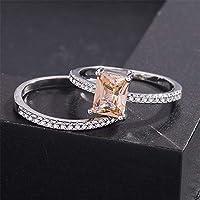 Ranipobo Fashion Simple Rectangular Zircon Couple Rings