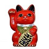招き猫 6号 赤小判猫(右手) 常滑焼
