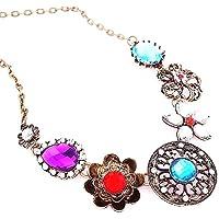 "Pure Ziva 18"" Inch Bronze Antiqued Finish Filigree Floral Necklace Retro Vintage Art Deco Pendant Necklace, Chain Link"