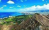 美しいダイヤモンドヘッド、市、海岸、ハワイ、アメリカ キャンバスの 写真 ポスター 印刷 海 - (50cmx33cm)