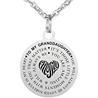 Stainless Steel Inspirational Words Jewelry Gift to My Granddaughter Dog Tag Keychain Pendant Necklace