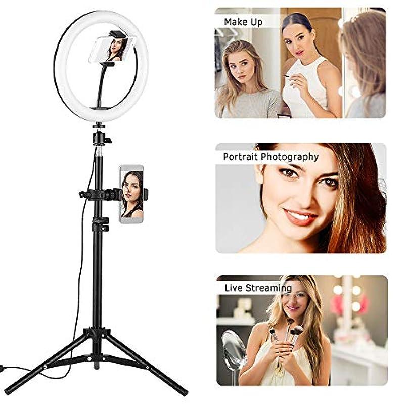 気難しい抹消汚れるBaugger 10インチデスクトップLEDビデオリングライトランプ3照明モード調光対応USBフォンホルダー付きボールヘッドアダプターYouTubeライブビデオ録画用の80cmライトスタンドネットワークブロードキャスト自撮りメイク