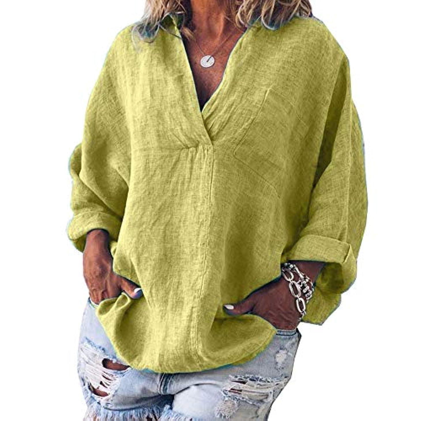 雇用者資産粘液MIFAN女性ファッション春夏チュニックトップス深いVネックTシャツ長袖プルオーバールーズリネンブラウス