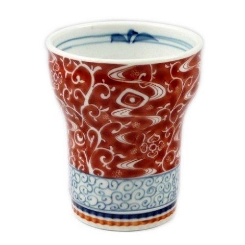 有田 波佐見焼 清山窯 中空 二重構造 錦唐草(赤) キーポ焼酎カップ 22004