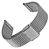 Geckota ステンレススチール オブリーク ミラネーゼメッシュ 時計交換ベルト ポリッシュ仕上げバックル 18, 20, 22mm