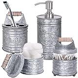 Autumn Alley Rustic Farmhouse Galvanized Bathroom Accessories Set (4 PCS) - Lotion Soap Dispenser, Toothbrush Holder, 2 Apoth