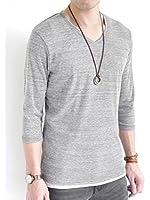 (オークランド) Oakland Vネック フライス カットソー 杢調 ストレッチ 長袖 ゆる Tシャツ コットン カラー 夏 メンズ