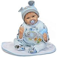 Rebornベビー人形ソフトビニールSmiling Realシリコン赤ちゃんLifelikeおもちゃ22インチマグネットおしゃぶり布ボディ