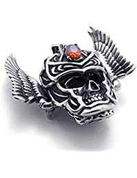 [テメゴ ジュエリー]TEMEGO Jewelry メンズキュービックジルコニアステンレススチールヴィンテージペンダントゴシックスカルウィングネックレス、レッドブラックシルバー[インポート]