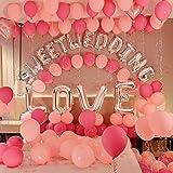 かえるの家 127点豪華 超巨大 ウェディング 風船セット 結婚式 飾り付け SWEET WEDDING英字 LOVE アルミバルーン リボン ポンプ付き 粘着用タープ付き  (ピンク)