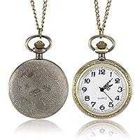 Warreal 1 Pcs Men Women Bronze Quartz Pocket Watch Carved Case with Chain