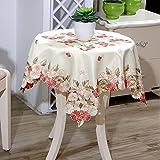 田園風 おしゃれ テーブルクロス ナチュラル 三色花柄 ベージュ地 華やか テーブルカバー 正方形 85㎝*85㎝