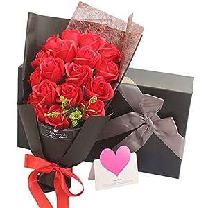 ソープフラワー LangRay 枯れない花 造花 花束 バラ 贈り物 母の日 誕生日 記念日 お見舞い プレゼント ギフトボックス(レッド)