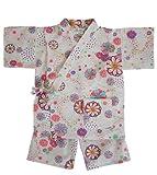 日本製 綿の郷 女の子用リップル生地甚平 じんべい 子供  (90, オフホワイト)