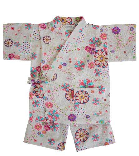 日本製 綿の郷 女の子用リップル生地甚平 じんべい 子供 90 100 110 120 130 (140, オフホワイト)