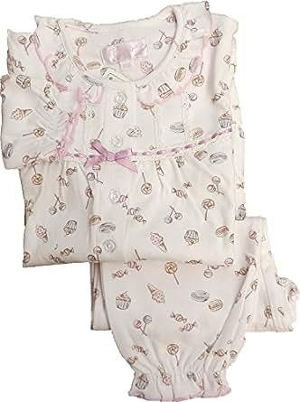 638112 女の子パジャマ お菓子柄 綿100%【春物・秋物】 (100, ピンク)