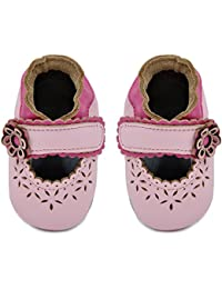 KiMi + Kai Kids Soft Sole Leather Crib Bootie Shoes - Cut Out Lacey Flower