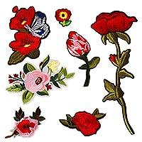(7枚)野花 蝶 刺繍刺繍アイロンアップリケワッペン 薔薇の花パッチ フラワーアップリケモチーフ 衣類アクセサリー装飾用 1033 (Assorted)