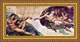 ( v07 – 26 – 27 – 45 ) Michelangelo _ Creation _ of _ adam _フレーム_キャンバス_ Giclee _プリント_ w36 _ X _ h16 +[ Med ] #01-Gold V07-45A-MD101-04