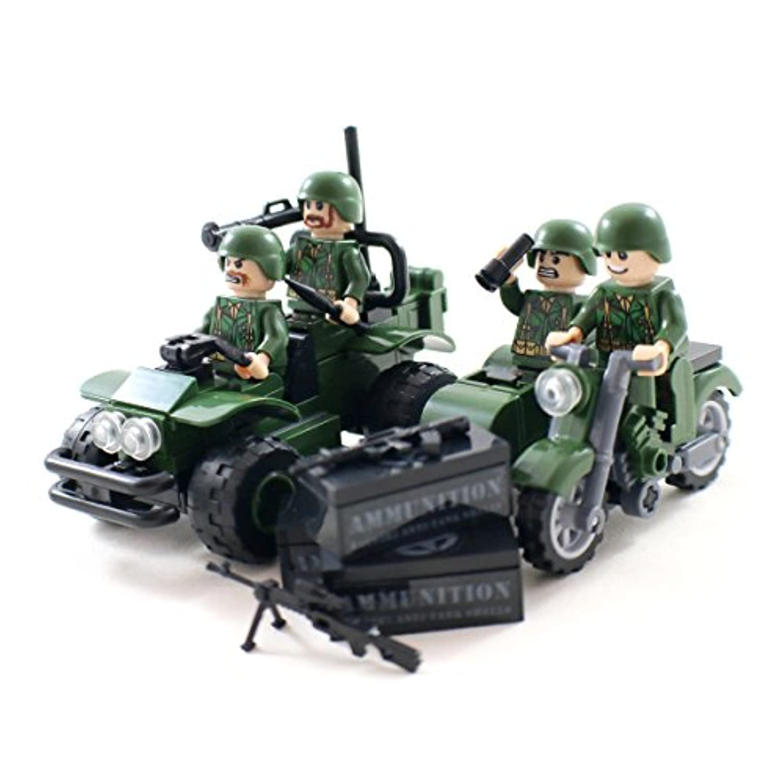 兵士ミニフィギュアと軍オフロードカーとサイドカー - 軍事ビルディングブロック玩具