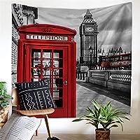 イングランド電話ブースバスビルディングポリエステル家の装飾タペストリー壁画壁掛けテレビの背景壁3Dデジタル印刷アート壁の装飾ベッドルームリビングルームブランケット (Color : 001, Size : 200cm*150cm)
