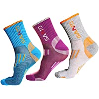 3 Pairs of Breathable Hiking Crew Socks - Outdoor Trekking Sock with Wicking Ventilating Mesh Cushioned Padding Design - Professional Boot Sock Fit for Trekker Walking Camping Climbing Athletic Running Sports Womens US 5.5-7