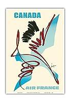 カナダ - エールフランス - 抽象芸術 - ビンテージな航空会社のポスター によって作成された ジョルジュ・マチュー c.1968 - アートポスター - 33cm x 48cm